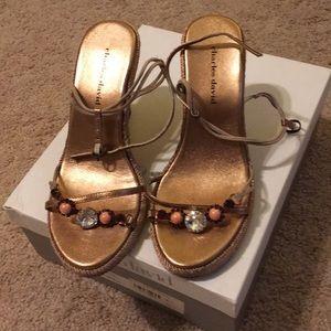 Charles David Rose Pink Jeweled Sandals Heels 6.5